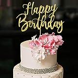 YUINYO Handmade Glitter happy birthday Cake Topper, Happy Birthday Cake Bunting Decor,Birthday Party Decoration Supplies (Gol