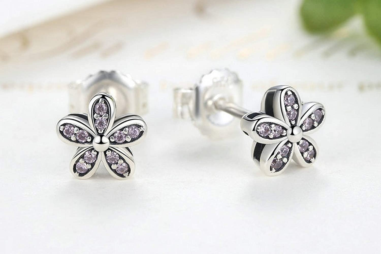 Sterling Silver Jewelry By CS-DB Cute Pink Delicacy Daisy Flower Stud Earrings