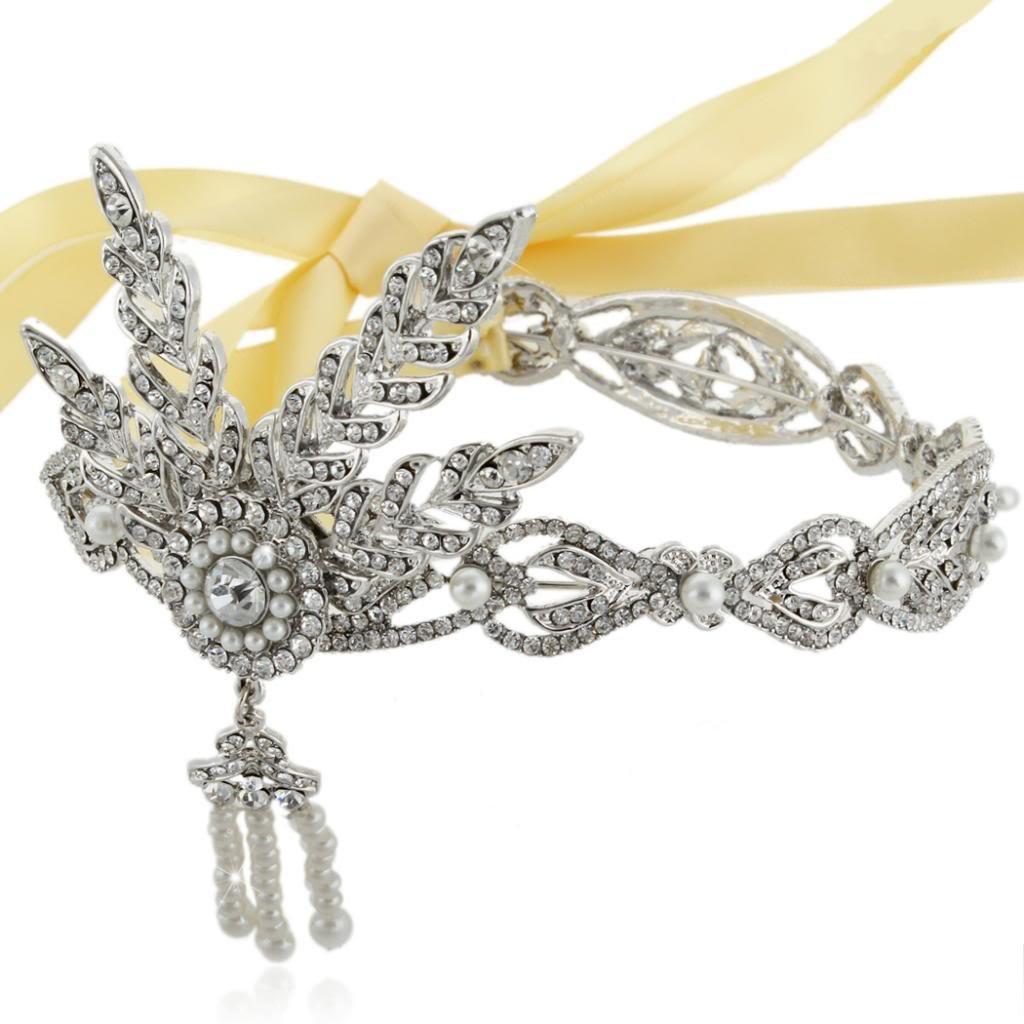 Ever Faith Wedding 4 Leaf Headband The Great Gatsby Inspired Clear Austrian Crystal Silver-Tone N03277-1