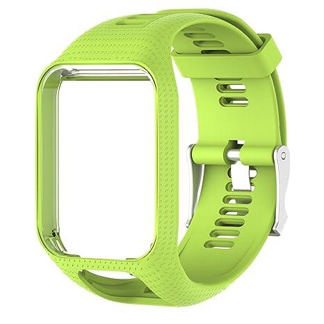 colinsa 11 couleurs Bande de montre de rechange pour TomTom Runner 2/3 série montre bracelet de montre en silicone, Green: Amazon.fr: Sports et Loisirs