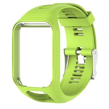 Correa de Reloj silicona de repuesto para reloj Strap de Recambio/Reemplazo Deportivos o Smartwatch TomTom series 3/series 2 (25cm) (verde)