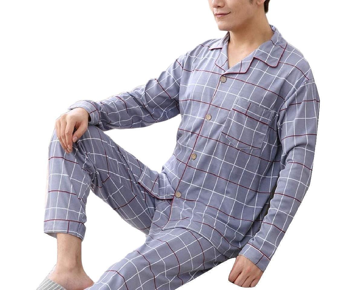Jmwss QD Mens Comfortable Long Sleeve Button Down Pajamas 2-Piece Warm Pj Set