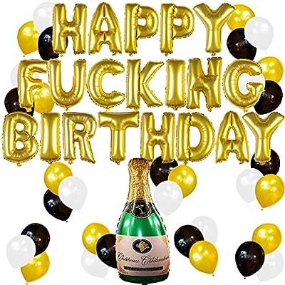 Sterling James Co. Conjunto de Decoraciones y Artículos Divertidos para Fiesta de Cumpleaños de Adultos con Globos Dorados y Botella de Champagne ...