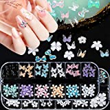 120Pcs 3D Butterfly Nail Charms Flowers 3D Bows Nail Charm Nail Art Designs 2021 Colorful Acrylic Butterflies Flower Nails Ch