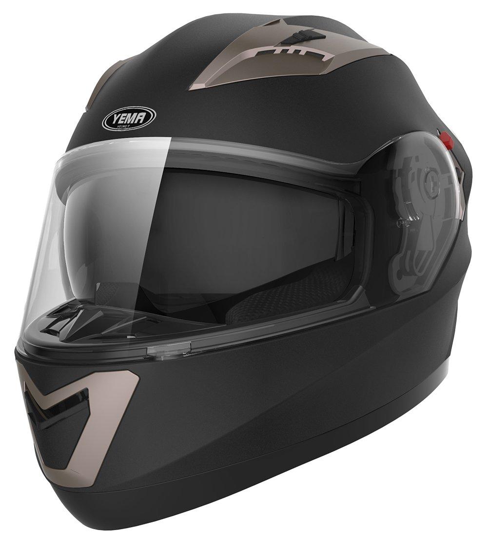 YEMA Motorradhelm Integralhelm Rollerhelm Fullface Helm YM-829 Sturzhelm ECE mit Doppelvisier Sonnenblende f/ür Damen Herren Erwachsene-Schwarz Matt-XL