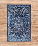 Well Woven Coverly Blue & Beige Vintage Medallion Traditional Persian Oriental Door Mat Accent Small Rug 2x3 (1'8'' x 2'8'') Neutral Modern Shabby Chic Thick Soft Plush Shed Free