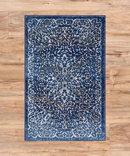 Well Woven Coverly Blue & Beige Vintage Medallion Traditional Persian Oriental Door Mat Accent Small Rug 2x3 (1'8