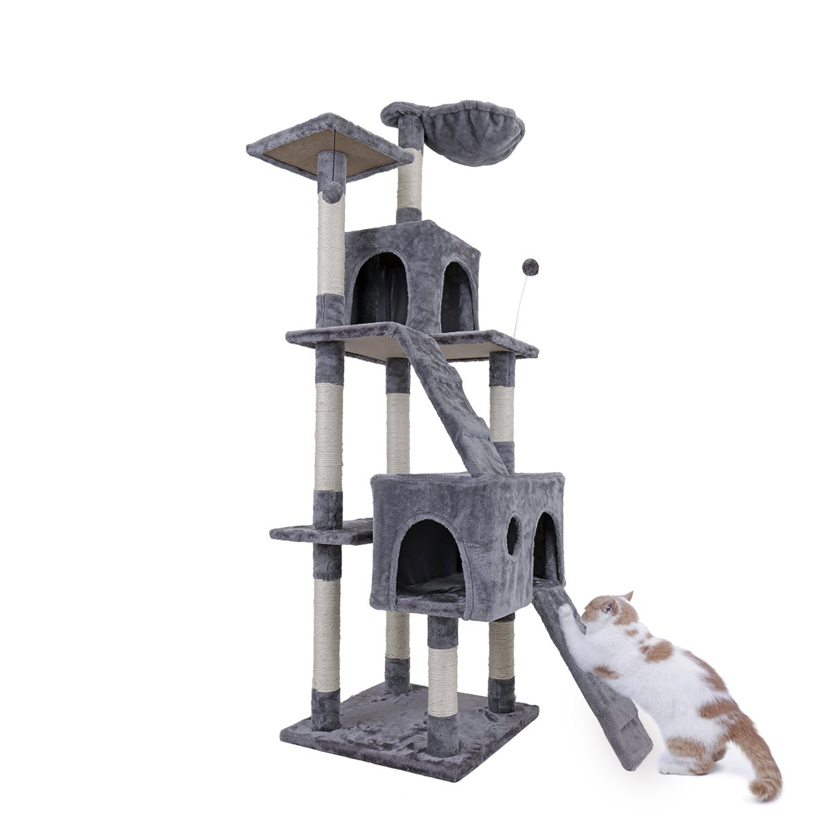 PAWZ Road 68'' Cat Tree Activity Tower Condo Stand with Deluxe Scratching Posts, Natural Sisals Grey