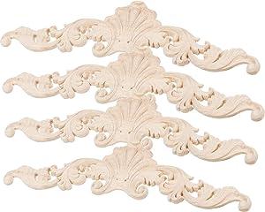 LXYUUM 4PCS Wood Carved Corner Onlay Applique Door Cabinet Unpainted Home Furniture Decorations (20cmx5cm)