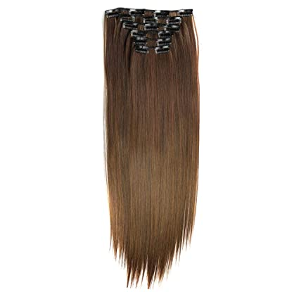 Women Clip-on Full Long Straight Wig Hair Extension Cosplay Accessory