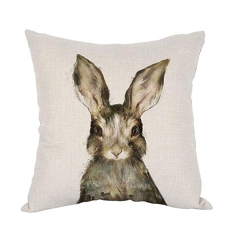 odin sky Conejos Acuarela Cuadrada de algodón Decorativo ...
