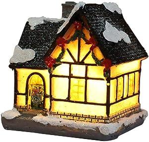 SHIYUE LED Mini Christmas House, Miniatue Dollhouse Kits with LED Soft Light, Exquisite Luminous Resin Cottage Hut Decor, DIY Tiny Christms House Kit for Home Decor