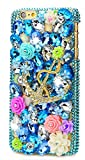 STENES iPhone 8 Plus Case - 3D Handmade Luxury Series Crystal Golden Anchor Rose Flowers Sparkle Rhinestone Cover Bling Case For iPhone 7 Plus/iPhone 8 Plus With Retro Bows Dust Plug - Navy Blue