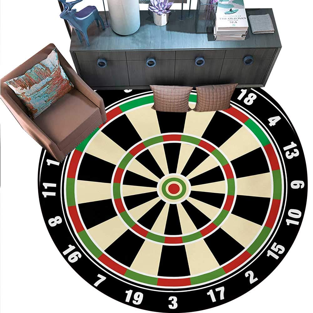 "Sports Circle Rugs Dart Board Numbers Sports Accuracy Precision Target Leisure Time Graphic Living Dining Room Bedroom Hallway Office Carpet (71"" Diameter) Vermilion Green Black.jpg"