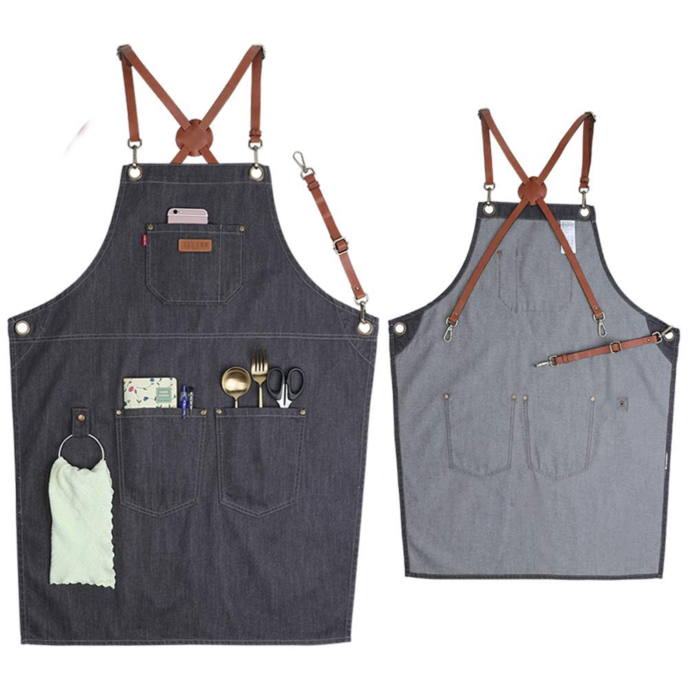 VANTOO Denim Apron for Men Women-Tool Work Apron for Chef Cooking Grill BBQ Garden, Painting Woodworking Apron with Pockets, Towel Loop, Quick Release Buckle, Cross-Back Straps & Adjustable M to XXL by VANTOO (Image #1)