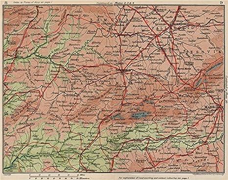 CASTILLA Y León. Madrid Salamanca Valladolid. Mapa Vintage plan. España;1930: Amazon.es: Hogar