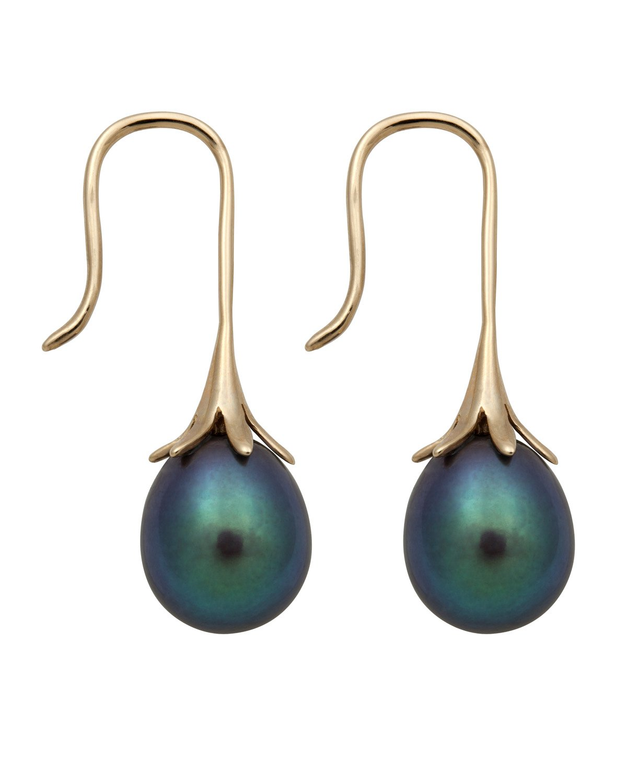 14K Yellow Gold 8.0-9.0mm Black Cultured Freshwater Pearl Drop Dangle Earrings
