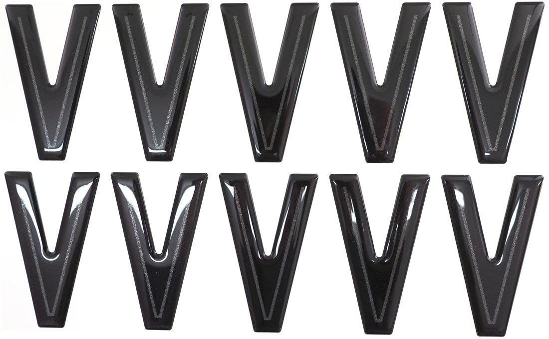 SET OF 10 Highline Gel Domed Self Adhesive Number Plate Digit V
