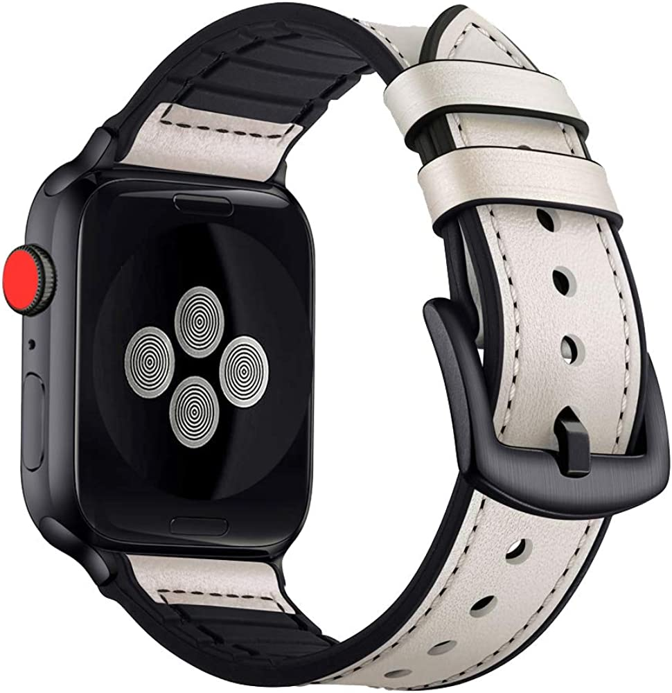 BATINY Compatible with Apple Watch Bands 38mm 40mm 42mm 44mm Genuine Leather and Rubber Hybrid Strap for iWatch Series 5,Series 4,Series 3 Soft Wristband