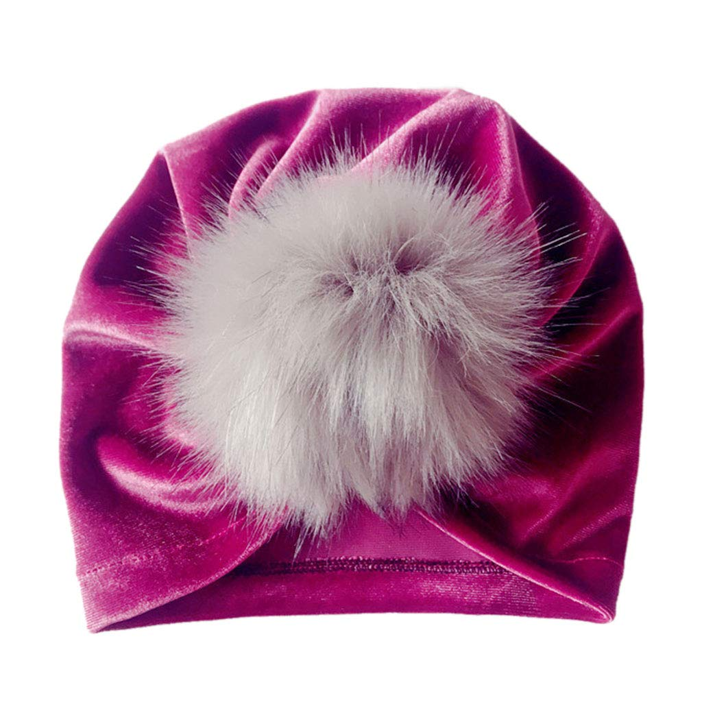 Shoresu Stretchy Cap Purple Infant Baby Girls Winter Glitter Velvet Turban Hat Fluffy Pompom Ball Ruched Pleated Beanie Cap Solid Color Knotted Ear Warmer Photography Props