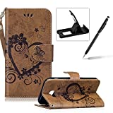 PU Leather Case For Samsung Galaxy J7 2017,Strap Magnetic Wallet Folio Cover for Samsung Galaxy J7 2017,Herzzer Elegant Slim Brown [Love Hearts Flower Embossed] Stand Phone Case