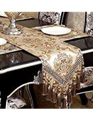 GRELUCGO Modern Luxury Jacquard Fabric Floral Damask Table Runners and Dresser Scarves with Multi-Tassels, Customer Order (12x88 inch)