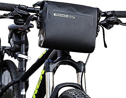 Amazon Com Allnice Bike Handlebar Bag Waterproof 3l Mountain Road Mtb Bike Cycling Bicycle Top Tube Handlebar Bag Front Frame Pvc Bag Roll Top Design Front Pannier Basket Bag Sports