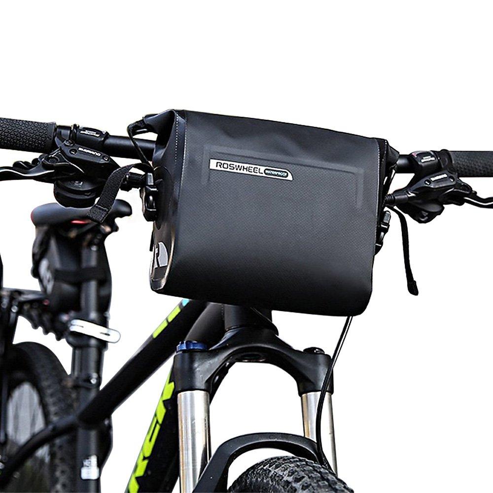 allnice Bike Handlebar Bag Waterproof 3L Mountain Road MTB Bike Cycling Bicycle Top Tube Handlebar Bag Front Frame PVC Bag Roll Top Design Front Pannier Basket Bag