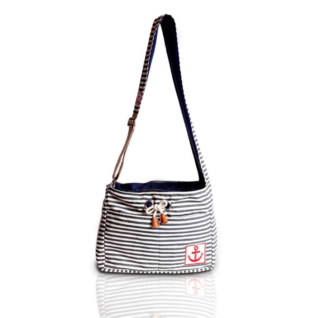 Lovely summer Fashion Stripe Pet Dog Cat Puppy Carrier Travel Shoulder Bag Dog Carrier Travel Sling Bag Small Dog Backpack Blue