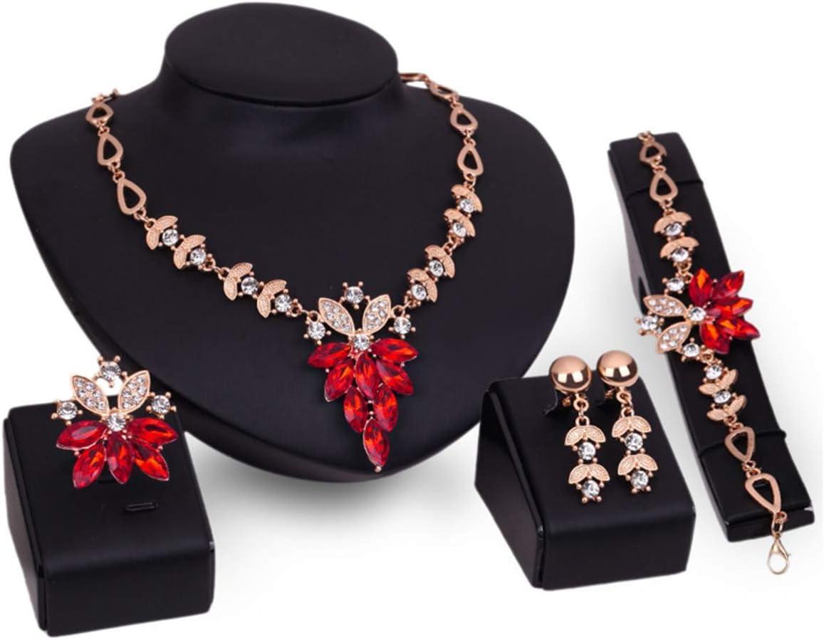 PIXNOR Mujeres Collar Pulsera Anillo Diamante Joyas Conjunto 4pcs (Rojo)