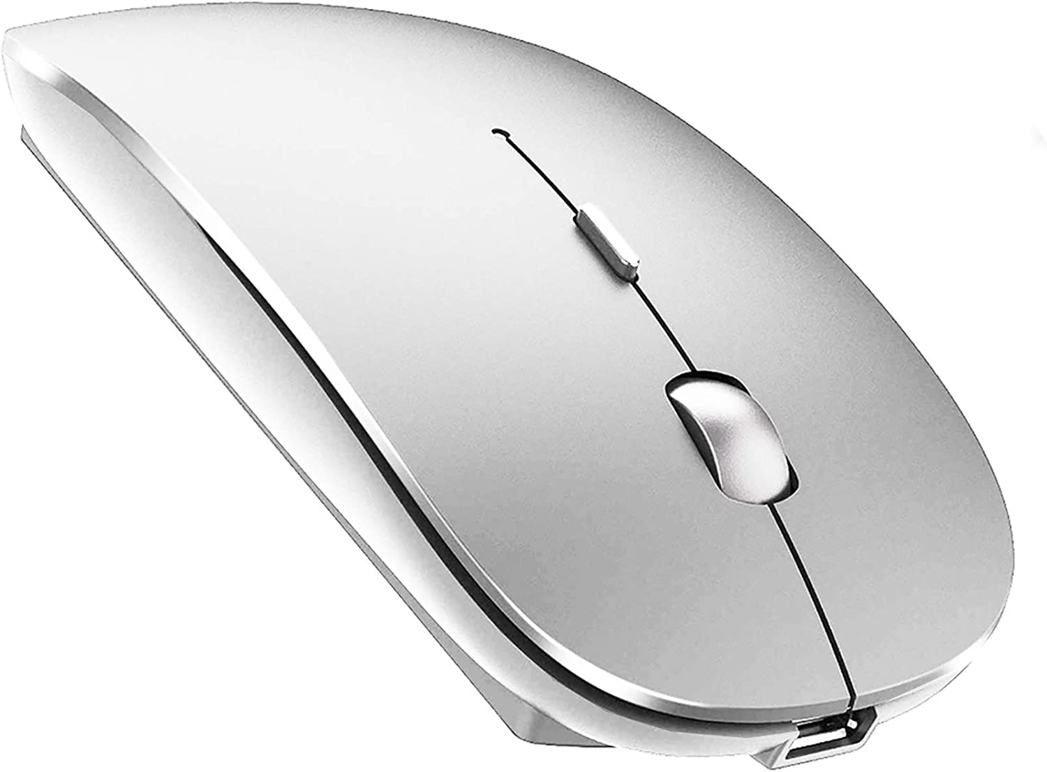 Bluetooth Mouse Wireless Bluetooth Mouse for iPad Mac MacBook Pro MacBook Air iMac Chromebook Desktop Computer (Silver)