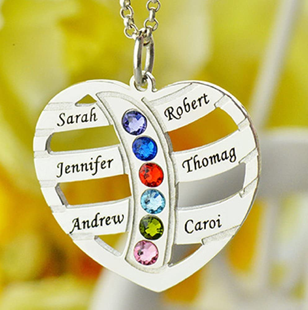 Heart Pendant Mothers Day Froshine Personalized Engraved Mom Necklace Birthstones Name Necklace
