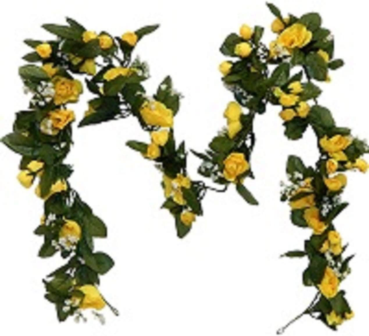 Ella and Lulu Dessign 12' of Rose Bloom Garland Outdoor Indoor Window Centerpiece Welcome Wedding Party Hanging Wall Décor, One Size, Yellow