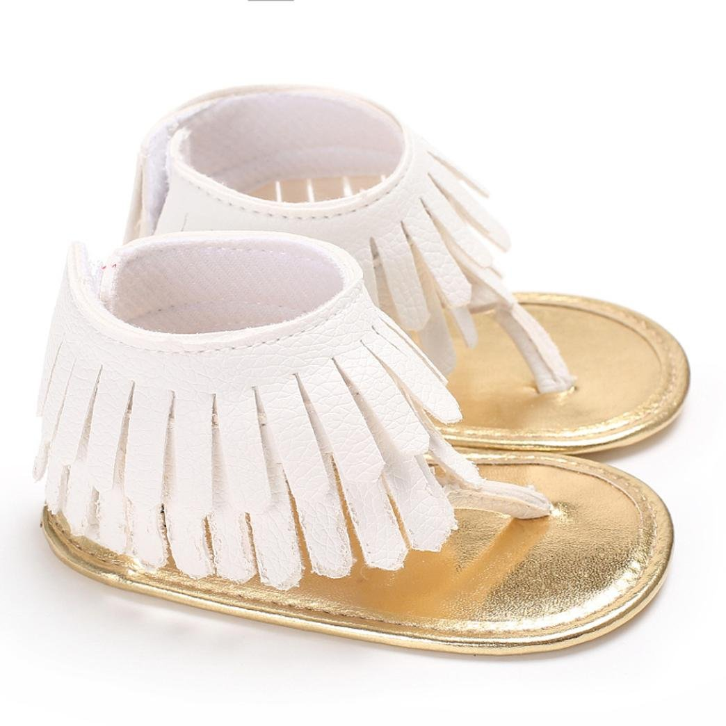 Voberry Toddler Baby Girls Tassel Sandals Soft Soled Anti-slip Fringe Footwear Shoes (0-6 Month, White 1) by Voberry (Image #2)