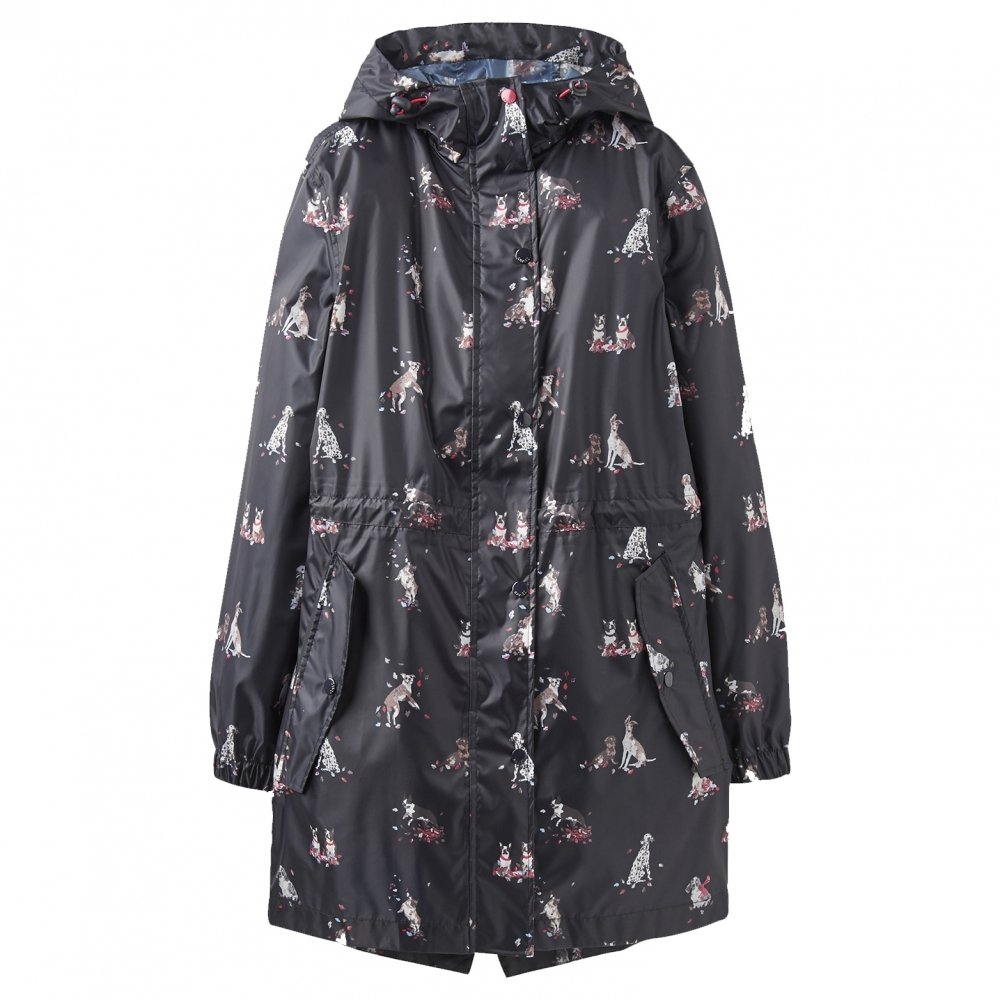Joules Golightly Printed Waterproof Womens Packaway Coat (Z) Dogs in Leaves Print UK10 EU38 US6