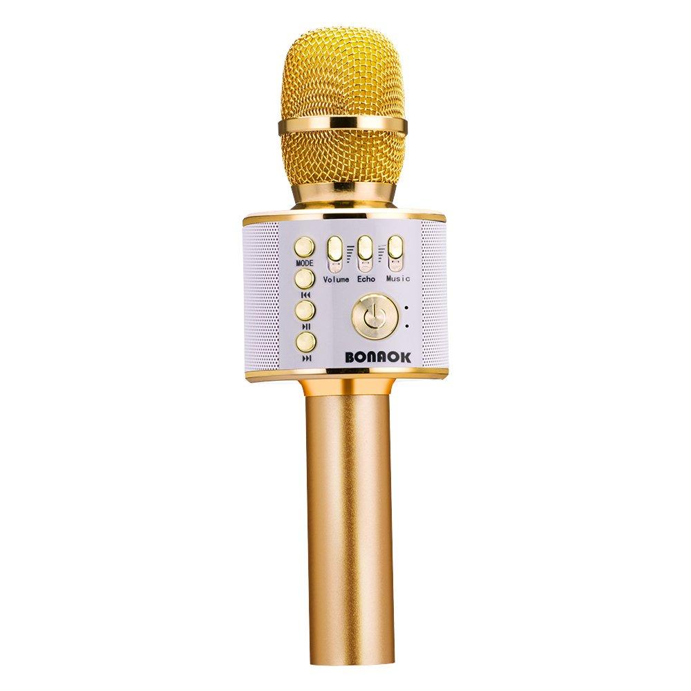 BONAOK Wireless Bluetooth Karaoke Microphone,3-in-1 Portable Handheld Karaoke Mic Speaker Machine Home Party Birthday for iPhone/Android/iPad/Sony/PC/All Smartphone by BONAOK