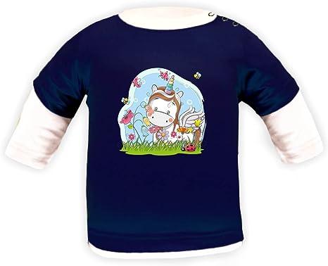 Camiseta de manga larga para niña, diseño de unicornio, color blanco: Amazon.es: Ropa y accesorios