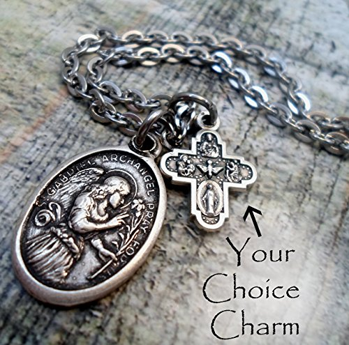 St. Gabriel The Messenger Charm Necklace, Patron Saint, Keychain or Backpack -