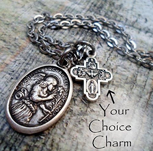 St. Gabriel The Messenger Charm Necklace, Patron Saint, Keychain or Backpack Clip ()