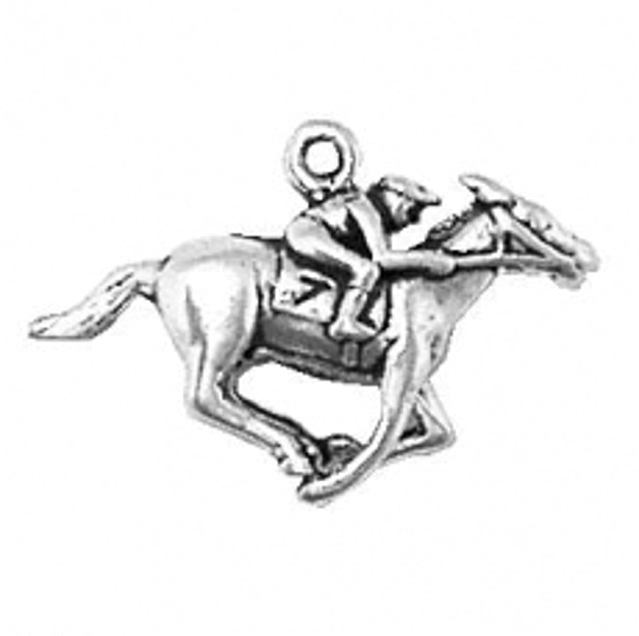 Sterling Silver Girls .8mm Box Chain 3D Race Horse And Jockey Rider Pendant Necklace