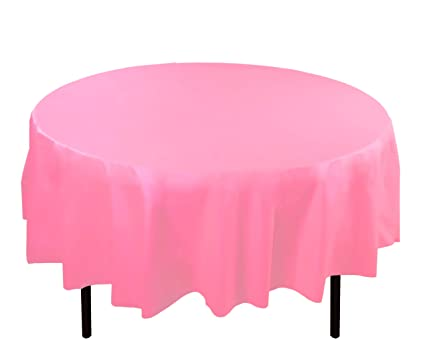 Pink Round Table.Exquisite 12 Pack Premium Plastic Tablecloth 84in Round Table Cover Pink