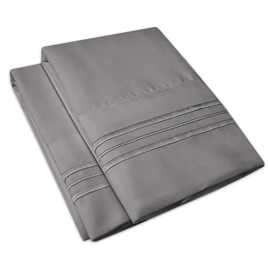 1500 Supreme Collection Pillowcase - Standard, 2 Count, Gray by Sweet Home Collection (Image #4)