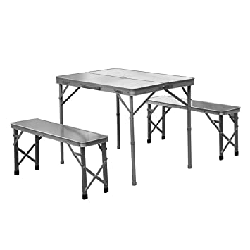 Amazon.com: 3\' Foldable Patio Picnic Table Bench Seat Aluminum ...