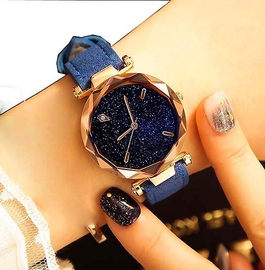 Amazon.com: Yunanwa Relojes Mujer Women Watches Rose Gold Romantic Starry Sky Dress Wrist Watch Crystal Rhinestone Ladies Clock Montre Femme Leather Brand ...