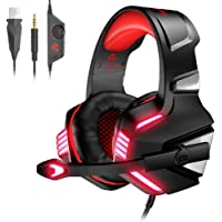 VersionTECH. Casque Gaming pour PS4, PC, Xbox One, Casque Gamer Audio Stéréo Filaire avec Micro, LED, pour Nintendo Switch, Macbook, Ordinateur Portable - Rouge et Noir
