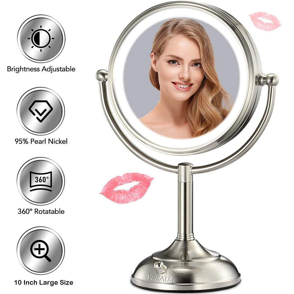 VESAUR Professional 10 Large Size Lighted Makeup Mirror, 5X Magnifying Vanity Mirror with 48 Medical LED Lights, Senior Pearl Nickel Cosmetic Mirror, Brightness Adjustable 0-1000Lux