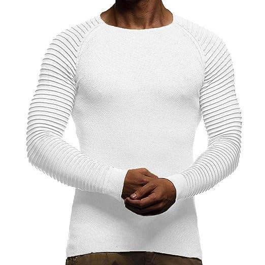 Resplend Blusa Superior de Manga Larga con Cuello en V para Hombre de otoño Invierno a Rayas: Amazon.es: Ropa y accesorios