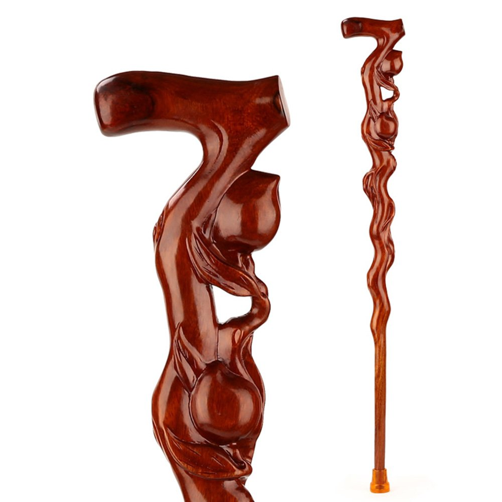 HXZXH Wood Cane with Supportive Curved Handle Exquisite Carving Walking Canes as Gifts Walking Sticks for Men and Women Hand Crutches Made of Rosewood No Assembly Required Sturdy Stable Brown Peach