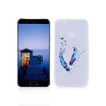 Funda Huawei P10 Lite Carcasa Protectora OuDu Funda para Huawei P10 Lite Caso Silicona TPU Funda Suave Soft Silicone Case - Pluma Colorida