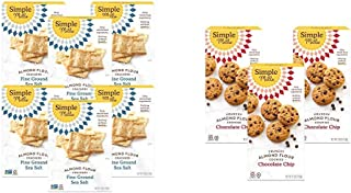 product image for Simple Mills Almond Flour Crackers, Fine Ground Sea Salt, Gluten Free, Flax Seed, Sunflower Seeds, 6 Count & Almond Flour Chocolate Chip Cookies, Gluten Free and Delicious Crunchy Cookies, 3 Count